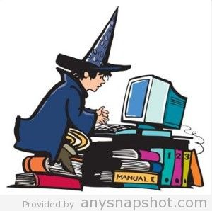 Cartoon-Witch-playing-computer-free-vector-graphic-300x298